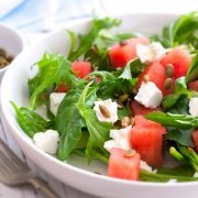 Sommersalat Melone Rucola Feta